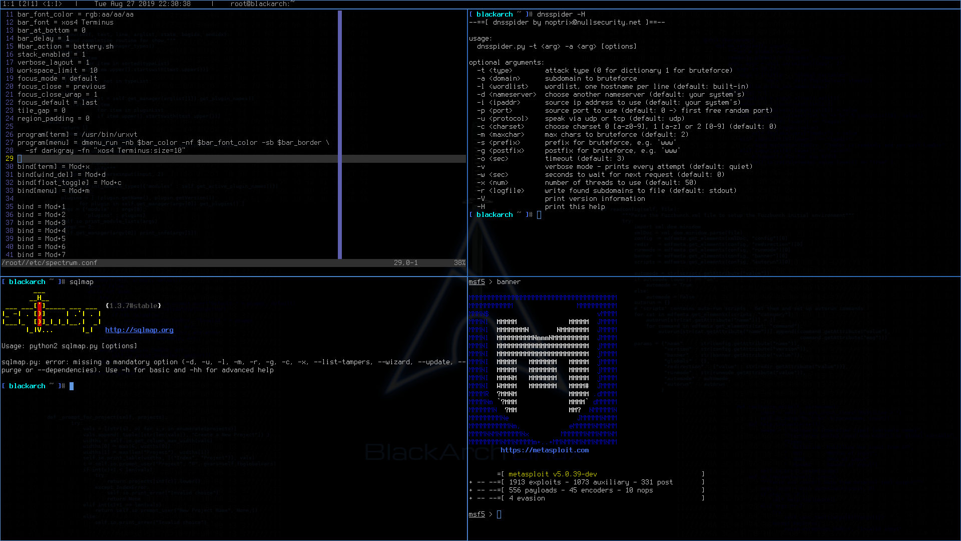 BlackArch Linux with spectrwm